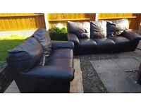 brown leather 2&3 seater sofa