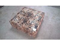 Large Coffee Table in pattern fabric with glass inset, 92cm x 92cm x 37cm, Open to offers