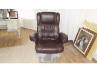 Brand new relaxateeze Prosecco reclining chair in brown leather with matching stool.