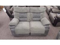 Ex Display ScS Nelson Grey 2 Seater Manual Recliner Sofa **CAN DELIVER**