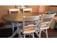 Shabby chic strong pine extending table and four chairs. Seat 6 and 8 when extended