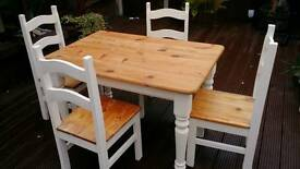 Shabby chic solid pine farmhouse table and chairs