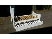 """Solid wood white """"Trundle"""" single childs bed"""