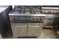 INDIAN CHINESE TAKEAWAY COMMERCIAL PARRY 6-RING COOKER OVEN NATURAL GAS FREE STANDING ON WHEELS