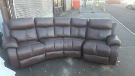 Brand New Designer Brown Reclining Leather Curved Sofa