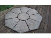 Octagonal patio slab set, 9 piece