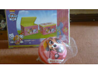Paw Patrol storage box and football both new and still in wrappers