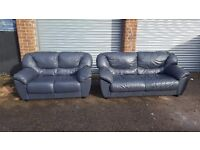 Comfy blue leather sofa suite. 3 and 2 seater sofas. good used condition. can deliver