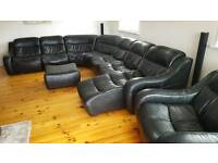 Extra Large 8+ Seater Black Leather Corner Sofa & tub chair and stool