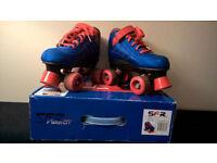 Blue/orange Quad Roller Skates boots, size 3J (35.5)