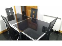 Italian Designer Peressini Jetz Extending Black Glass & Chrome Dining Table with 4 Leather Chairs