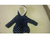 Blue heart print padded jacket 1-1.5 years