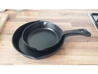 2 cast iron frying pan (26cm + 20cm)