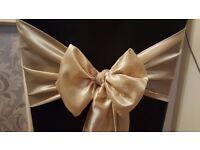 100 champagne gold taffeta wedding chair sashes