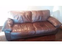 Leather 3 seater brown sofa + matching arm chair
