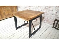 Extending Industrial Rustic Dining Table Drop Leaf Hardwood Finish Folding Space Saving Extendable