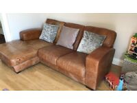 Brown leather settee and chair, needs to go by friday