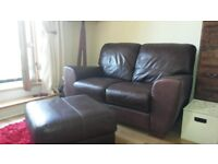 Brown leather 2 seater sofa and free matching pouffe/stool