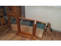 pine wood frame dressing table mirror