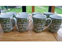 LOVELY GREEN AND WHITE MUGS AS NEW CONDITION