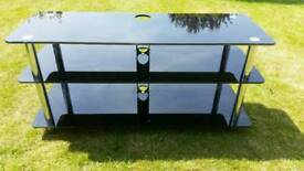 Black glass 3 teir tv stand