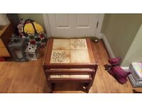Vintage Retro Nest of 3 Tables Danish Style Tiled Top Side Tables Teak in colour Bedside Table