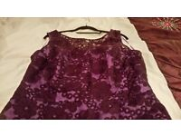 Mother of the Bride Dress, size 14 purple lace over satin with optional White brocade jacket