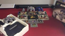 Nintendo N64 boxed console plus 10 games 3 controllers etc