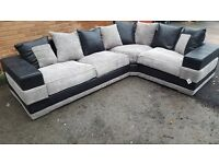 Nice Brand New large black and grey cord corner sofa. wide arms.good quality.can deliver