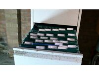 Over 140 Foolscap Hanging Suspension Files (some new) With Tabs PLUS 4 Drawer Filing Cabinet