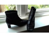 Ladies black leather boots size 4