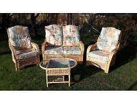 conservatory chairs x 2, plus 2 seater and side table for sale