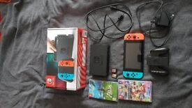 Nintendo Neon Controllers with Zelds & Mariokart in original box
