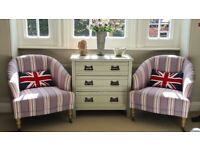 Armchairs, Victorian Style, Turned Legs & Casters, Pair plus Cushions