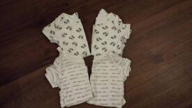 4 x short sleeved vests - 0-3 months