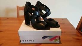 "REDUCED.... Ladies black heels by ""Office"". Size 7."