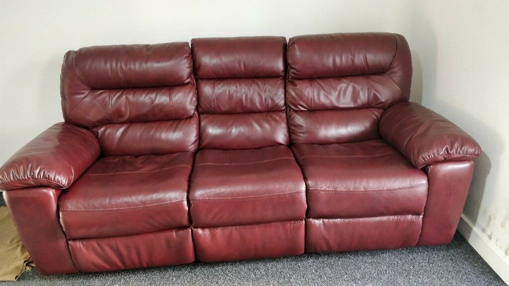 Devon 3 Seater Electric Sofa With 2 Recliners Burgundy Leather