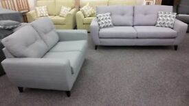 Ex Display 3 & 2 Seater Slate Grey Fabric Sofas **CAN DELIVER**
