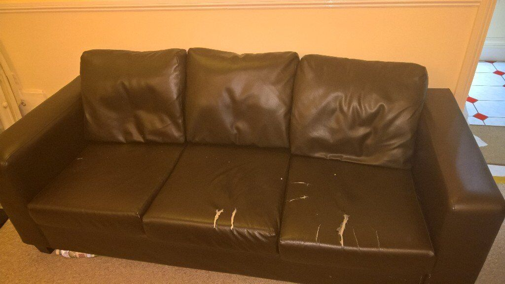 sofa for sale - three seater brown leather sofa