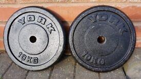 YORK & BODY POWER & TRI GRIP 10KG CAST IRON WEIGHT PLATES