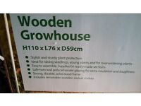 2 x Dobbies Wooden grow houses and a Dobbies Cold Frame