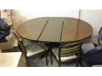 Sm Wood Dining Table w Four Chairs and One Leaf