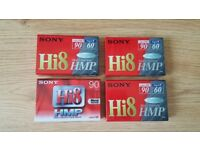 4 unopened blank Sony hi8 video cassette tapes
