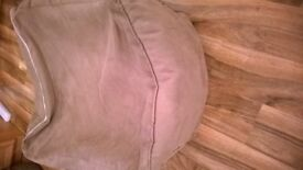 Pouffe footstool bean bag zip on off cover vgc brown beige suede leather look