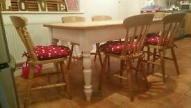 Large six seater shabby chic farmhouse dining table.