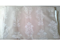 3 pairs Faux silk tab top beige damask curtains, 2 bedsheets & pillowcases, toilet roll holder
