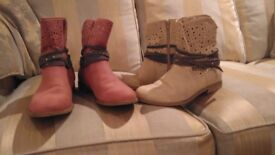 2 pairs Ladies s Ankle Boots Size 6
