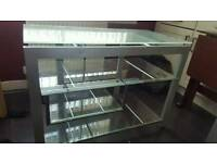 Glass tv stand and coffee table set