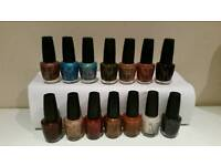OPI Nail Polish - 14 bottles of Various colours - Nearly all virtually full!