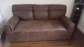 Brown suede effect 3 seater 2 seater and chair
